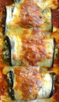 Skinny Eggplant Rollatini This seems like a very delicious alternative to stuffed shells. Only using one eggplant next time as I got far more than 12 slice z& it was too much for just the two of us! Gotta love leftovers though!