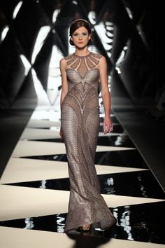 Taupe/Grey Cutout Gown | Mireille Dagher