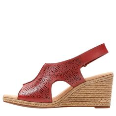 27ec6fb6b30 Clarks Women s Lafley Rosen Medium Wide Espadrille Wedge Sandals (Red)