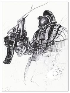 Drawings, pen and ink, black and white, space marine,