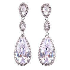 208e64ed3 Daniella Long Crystal Elegant Tear Drop Earrings Wedding Jewellery  Inspiration, Wedding Jewelry, Unique Earrings