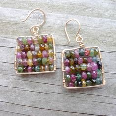Tourmaline Earrings Colorful Goldfill Mosaic by CamileeDesigns