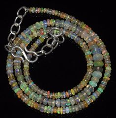 """31 CTW 2-5 MM 16""""NATURAL GENUINE ETHIOPIAN WELO FIRE OPAL BEADS NECKLACE-R2810"""