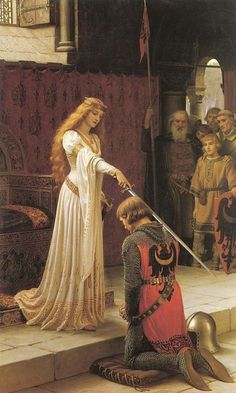Knighted. It is only by serving the Feminine (Life itself) that a man can become a true knight.