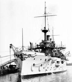 USS Kansas Battleship #21 (BB-21) seen in 1907, location unknown.