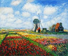 Tulip Field with the Rijnsburg Windmill - Oil Painting Reproduction On Canvas