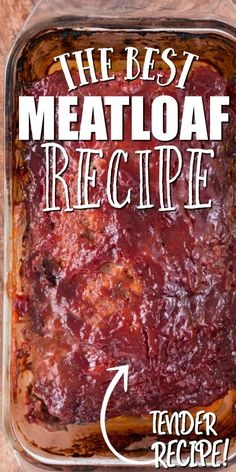 This a classic ground beef meatloaf is the type of recipe you'll want to make again and again. It's easy to make, incredibly tender and holds its shape as a loaf. It's sauce -- made with traditional i Easy Meatloaf Recipe With Bread Crumbs, Classic Meatloaf Recipe, Good Meatloaf Recipe, Meat Loaf Recipe Easy, Best Meatloaf, Meat Recipes, Cooking Recipes, Classic Recipe, Recipes For Meatloaf