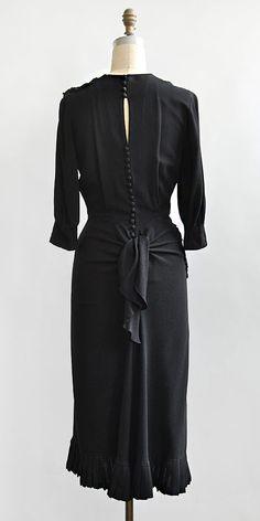 vintage 1940s black crepe appliqué bustled dress