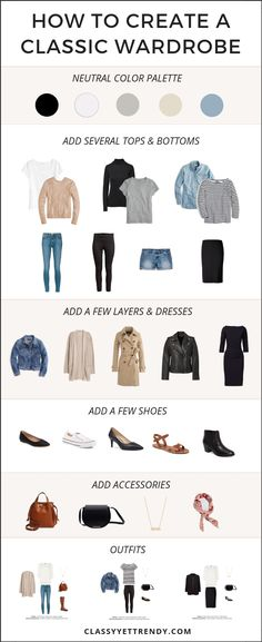 How To Create A Classic Wardrobe - Classy Yet Trendy - Get your complete list of tops and bottoms, with budget and investment shopping links in the eBook, Simplified Style: A Year-Round Core Closet Essentials Capsule Wardrobe. Capsule Wardrobe, Capsule Outfits, Fashion Capsule, Wardrobe Basics, New Wardrobe, Fashion Outfits, Womens Fashion, Wardrobe Ideas, Wardrobe Design