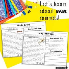 From leafy sea dragons to pink dolphins to Gila monsters and more! Your students will L-O-V-E reading about these amazing, rare animals in this special text evidence edition! 😍🙌 These passages have a manageable amount of text, and each page is packed with meaningful practice in skills and strategies! Reading Lesson Plans, Reading Lessons, Reading Logs, Reading Passages, Text Based Evidence, Leafy Sea Dragon, Special Text, Second Grade Teacher, Reading Intervention