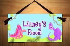 Girly Dinotastic Dinosaur DOOR SIGN Boys Bedroom Nursery Wall Art Decor