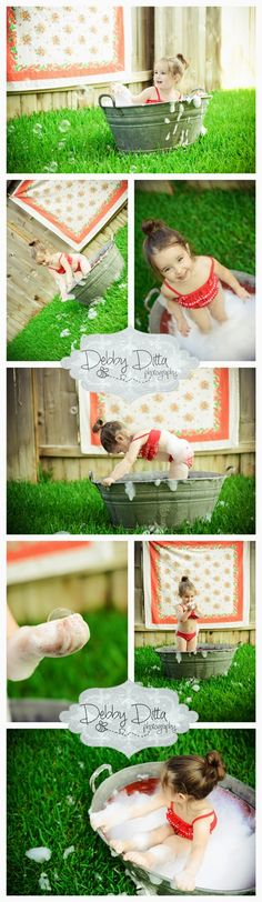 Vintage tub bubble bath.  Im in love with the antique strawberry tablecloth.  By child photographer Debby Ditta of Tomball, Houston, Spring, the Woodlands, Cypress, Magnolia child and baby photographer Debby Ditta Photography: Rub a dub dub bubbles in the tub. Bubble bath mini session . Vintage tub