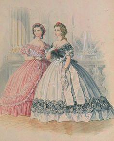 1861. Evening dresses, La Mode Illustrée