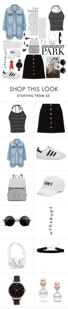 """Amusement park"" by camlovepolyvore ❤ liked on Polyvore featuring Miss Selfridge, LE3NO, KAROLINA, adidas, SO, Olivia Burton, Escalier, Jayson Home, amusementpark and 60secondstyle"