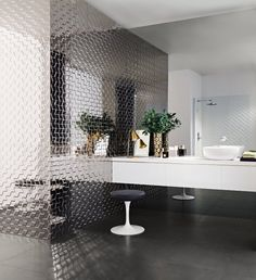 Ceramic 3D Wall Cladding HOME by @Love Tiles #bathroom #interiors #metal