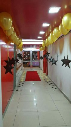 Red carpet stars Kids names on them and balloons with handprints