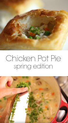 A classic Chicken Pot Pie Recipe updated for spring! This is a great Sunday Night Dinner Idea or for a special occasion like Easter or Mother's Day! Includes video tutorial too! Fall Dinner Recipes, Spring Recipes, Easter Recipes, Brunch Recipes, Spring Dinner Ideas, Cookbook Recipes, Pie Recipes, Chicken Recipes, Turkey Recipes