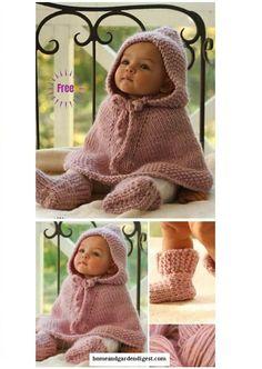 Knit Little Peach Baby Poncho Free Knitting Pattern ~ kleine pfirsich baby poncho free knitting pattern stricken ~ modèle de tricot gratuit de petit poncho bébé pêche en tricot Poncho Knitting Patterns, Crochet Poncho, Knit Patterns, Free Knitting, Knitting And Crocheting, Knitting Patterns For Babies, Knitting For Kids, Knitted Shawls, Vintage Knitting