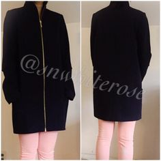 Zara Navy Long Coat Zara Navy Long Coat. Full front zip. Patch pockets. Excellent condition. Selling for a friend . No trades. Zara Tops