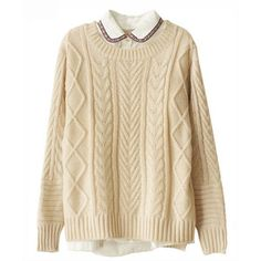 Chicnova Fashion High Low Hem Cable- Knit Knitwear