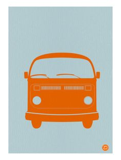 Orange VW Bus Poster by NaxArt at AllPosters.com