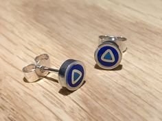 Royal and Fave mosiac studs - handmade in sterling silver & blue / turquoise resin