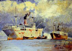 Nielsen, Merchant Marine Ships, Oil on Canvas 1937