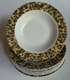 Beautiful set in great shape-no chips or cracks and light signs of use. Great set! | eBay! & TIENSHAN LEOPARD DINNERWARE SALAD PLATE DINNER SOUP BOWL 10 PCS ...