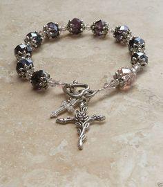 Genuine Amethyst AB Swarovski Crystal Antique Silver Rosary Prayer Bracelet