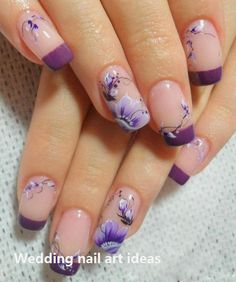 Floral Nail Art for Summer and Spring Ideas make our nails more beautiful and fresh. Especially if paired with white nail polish based that gives the impression of feminine and elegant. Natural Wedding Nails, Simple Wedding Nails, Wedding Nails Design, French Pedicure Designs, Flower Nail Designs, Nail Art Designs, French Nails, Manicure, Gel Nagel Design