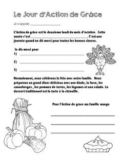 Thanksgiving reading and writing activity for Canadian Thanksgiving. French Language Lessons, French Lessons, Canadian Thanksgiving, French Immersion, French Class, Thanksgiving Activities, Writing Activities, School Ideas, Classroom Ideas