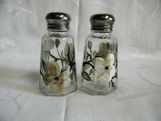 Hand painted salt and pepper shakers-ivory-dogwood flowers on Etsy, $12.00