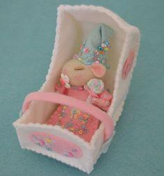 Sweet Petite Sleeping Baby Mouse in Bassinet. $65.00, via Etsy.