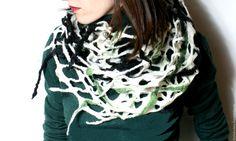 """Купить Снуд шерстяной """"Городская зима"""" - комбинированный, абстрактный, шарф, снуд, сетка"""