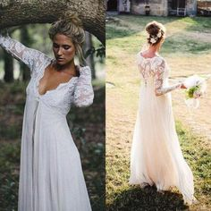 2016 Gorgeous Empire Waist Lace Chiffon Wedding Dresses Cheap High Quality Illusioin Long Sleeves Bridal Gowns For Maternity Pregnant Brides Sparkly Wedding Dresses Wedding Dreses From Weddingfactory, $125.78| Dhgate.Com