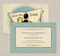 100 Art Deco Save the Date Cards Wedding Invitations Custom for you Deco Newspaper Couple. $90.00, via Etsy.