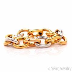 Estate Italian 18K Gold Tri-Tone Link Bracelet 71.3 Grams NR