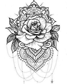 Rose tattoo on back, tatoo rose, rose drawing tattoo, mandala tattoo Rose Mandala Tattoo, Dotwork Tattoo Mandala, Mandala Rose, Tatoo Rose, Mandala Tattoo Shoulder, Mandala Tattoo Design, Mandela Flower Tattoo, Rose Thigh Tattoos, Disney Mandala Tattoo