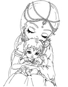 this lineart was made for posing ref baby krishna and mother yasoda once upon a