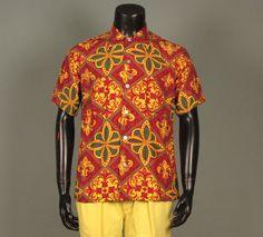 Mens 1950s Shirt  Vivid Novelty Print Cabanda by jauntyrooster