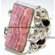 Anahi 925 Sterling Silver hi fashion Thousand dollar style Rhodochrosite Ring for women