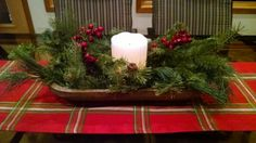 Dough Bowl Christmas Centerpiece using battery operated candle
