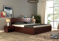 Simple wooden bed designs 2018 simple bed designs in wood with storage queen size wooden bed . Box Bed Design, Bedroom Bed Design, Bedroom Furniture Design, Bed Furniture, Modern Bedroom, Modern Wood Bed, Modern Rustic, Furniture Makeover, Furniture Ideas