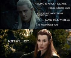 Legolas and Tauriel from The Hobbit desolation of smaug. he looks so good there!!!!!!!