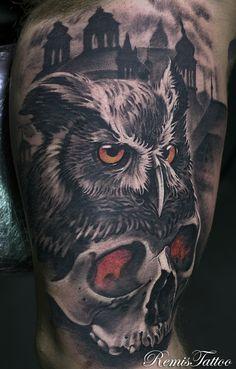 black and grey skull and owl tattoo by Remis, remistattoo, realism, realistic tattoo, tattoo ideas, inspiration, sleeve, arm, half sleeve, full sleeve, owl tattoo, skull tattoo
