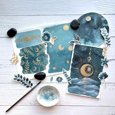 I've been working on a new journal kit and I wanted to include some of my hand painted pieces with it. I wanted to create something with… Kunstjournal Inspiration, Painting Inspiration, Art Inspo, Bullet Journal Art, Bullet Journal Inspiration, Bullet Journal Watercolour, Art Sketches, Art Drawings, Theme Galaxy