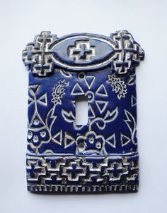 Blue n White 2, light switch cover, switch plate, one of a kind, textile block, polymer clay original. $17.00, via Etsy.