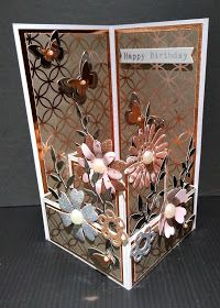 IcedImages: Balcony Front Card Fancy Fold Cards, Folded Cards, Handmade Birthday Cards, Greeting Cards Handmade, Card Making Tutorials, Making Ideas, Creative Arts And Crafts, Pop Up Box Cards, Fabric Cards