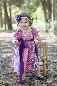 Plums Stripwork Peasant Heirloom Dress by cuddlebuggifts on Etsy, $42.00