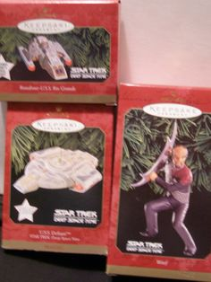 Hallmark Christmas Ornaments - Star Trek Deep Space 9 - Worf, Runabout-USS Rio Grande (Magic), USS Defiant (Magic) in Boxes by Something2SingAbout on Etsy